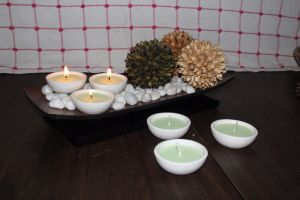 Scented Candles - Hosley Set of 6 Highly Scented Fresh Bamboo Ceramic Diyas