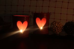 Home Decoratives - Hosley Set Of 2, 6Inch Red Heart Shape bucket, with free 6 unscented tealight