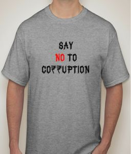 Say No To Corruption Grey T-shirt For Men - ( Code -p0064501253 )