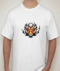 Tiger Face-fire Effect White T-shirt For Men - ( Code -p0083400453 )