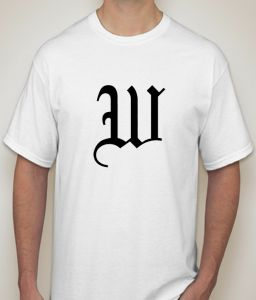 Initial Letter W White T-shirt For Men - ( Code -p0087100453 )