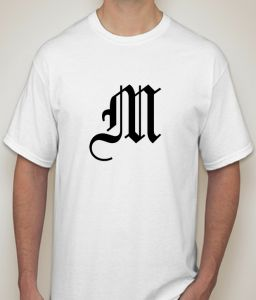T Shirts (Men's) - Initial Letter  M White T-shirt for Men - ( Code -P0088100453  )