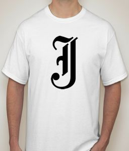Initial Letter J White T-shirt For Men - ( Code -p0088400453 )