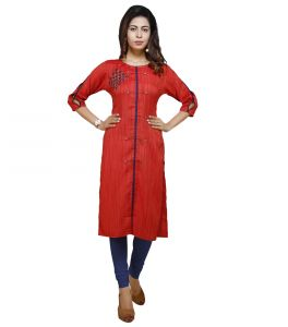 Vedika Creations Cotton & Rayon Red Color Designer Kurti(code-vcduwckttc -118)
