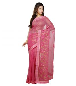 Vedika Creations Pink Colour Supernet Saree Fancy Sari(code-vcncdsss-16)