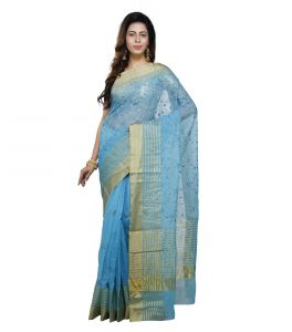 Vedika Creations Sky Blue Colour Supernet Saree Fancy Sari(code-vcncdsss-21)
