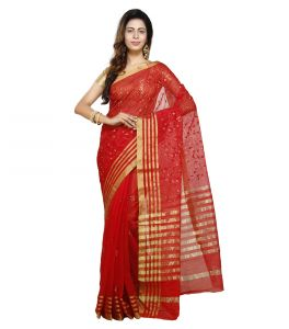 Vedika Creations Red Colour Supernet Saree Fancy Sari(code-vcncdsss-23)