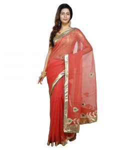 Vedika Creations Red Colour Supernet Saree Fancy Sari(code-vcncdsss-24)