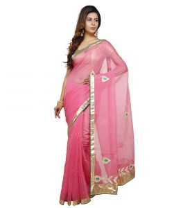Vedika Creations Pink Colour Supernet Saree Fancy Sari(code-vcncdsss-25)