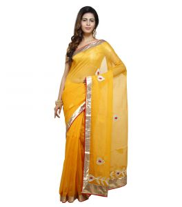 Sarees - Vedika Creations Yellow Colour Supernet  Saree Fancy Sari(Code-VCNCDSSS-26)