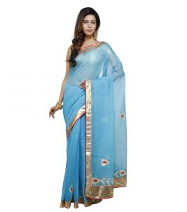 Vedika Creations Sky Blue Colour Supernet Saree Fancy Sari(code-vcncdsss-27)