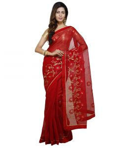 Vedika Creations Red Colour Supernet Saree Fancy Sari(code-vcncdsss-29)