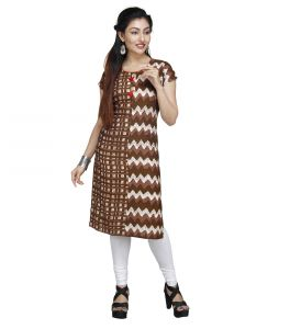Vedika Creations Designer Cotton & Rayon Brown Kurti(code-vcduwcktt -140)