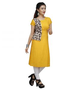 Vedika Creations Cotton & Rayon Yellow Kurta Kurti(code-vcduwcktt -141)