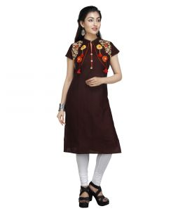 Vedika Creations Cotton & Rayon Brown Kurta Kurti(code-vcduwcktt -154)