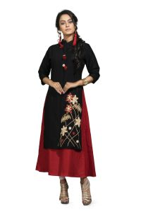 Vedika Creations Designer Cotton & Rayon Black & Red Kurti(code-vcduwcktt -163)