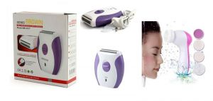 Gemei Gm-3017 Mini Rechargeable Lady Shaver Hair Trimmer With 5 In 1 Face Massager