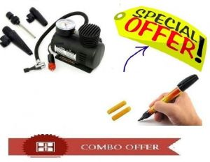 300psi 12v Car Black Electric Air Compressor Tyre Pump With Car Scratch Remover Pen