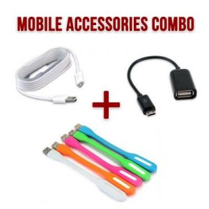 Combo Of USB Otg Cable, 1.5 Meter Micro USB Charging Cable And LED Portable Light
