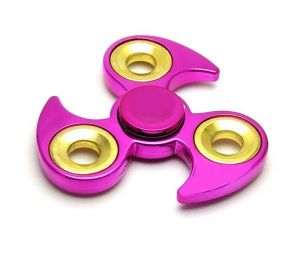 Fashblush Magenta Curved Edged Tri Chrome Look Fidget Hand Spinner