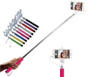 Monopod Extendable Selfie Stick With 3.5mm Aux Cable For All Mobile Phones