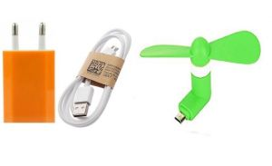USB Adopter, Data Cable & V8 Mini Fan (tricolor Combo No 20)