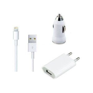 5 In 1 USB Wall Charger Car 30 Pin Lightening Cable 2 Audio Headphone For Apple IPhone 4 4s Free Shipping