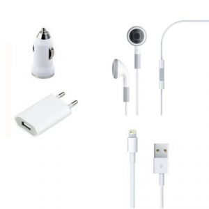 4 In 1 USB Wall And Car Charger Lightning Cable Kit For iPhone 5, iPod