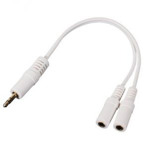 3.5mm Stereo Audio Headphone Y Splitter Cable - White