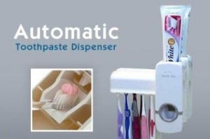 Home Basics Automatic Toothpaste Dispenser Toothbrush Holder 4 Cup Wash Gargle Suit