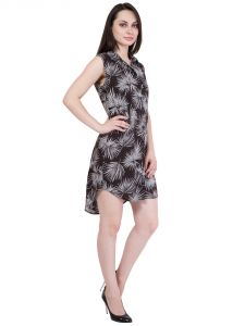 Hive91 Black Dress Printed Design Rayon Fabric - Sleeveless (code - Rh54drbl)