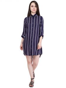 Hive91 Blue Shirt Dress In Striped Design, Rayon Fabric And Roll Up Full Sleeve (code - Rh56shbu)