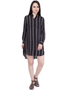 Hive91 Black Shirt Dress In Striped Design, Rayon Fabric And Roll Up Full Sleeve (code - Rh60shbl)