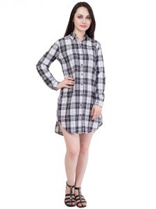 Hive91 Long Check Shirt For Women In Checkered Design, Black And White Check (code - Rh63shbw)
