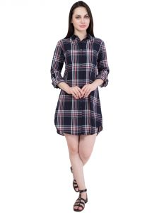 Hive91 Long Black Shirts For Women, Checkered Shirts Dress In Cotton Fabric (code - Rh58shbl)