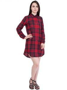 Hive91 Red Checkered Shirt For Women, Full Sleeve Shirts Dress In Cotton Fabric (code - Rh57shrb)
