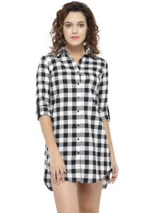 Hive91 Long Black Check Shirt Dress For Women, Fold Up Sleeve, Cotton Casual Shirt (code - Rh71shbw)
