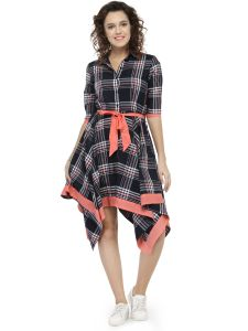 Hive91 Wrap Dresses Checkered Design Western Dress For Women (code - Rh70drbl)