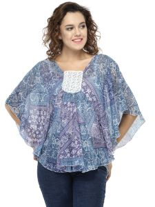 Hive91 Poncho Tops For Women, Butterfly Sleeve And Printed Design, Blue Poncho Tops