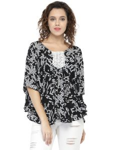 Hive91 Poncho Tops For Women, Butterfly Sleeve And Printed Design, Black And White Poncho Tops (code - Rh78pnbl)