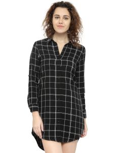 Hive91 Long Black Check Shirt Dress For Women, Full Sleeve, Cotton Casual Shirt (Code - RH67SHBL)