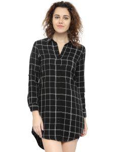 Hive91 Long Black Check Shirt Dress For Women, Full Sleeve, Cotton Casual Shirt (Code - RH67SHBL)