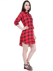 Hive91 Checkered Red Long Shirt Dress In Rayon Fabric Code - Rh62shrd)