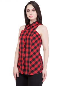 Hive91 Red And Black Checkered Shirts For Women (code - Rh43shrd)