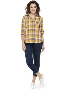 Hive91 Women Check Shirt In Yellow Color And Cotton Fabric (code - Rh68sshyl)