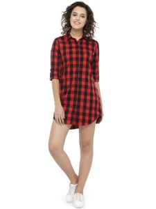 Hive91 Long Red Check Shirt Dress For Women, Fold Up Sleeve, Cotton Casual Shirt (code - Rh72shrd)