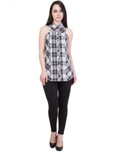 Hive91 White And Black Check Shirt For Women In Cotton Fabric (code - Rh44shwb)