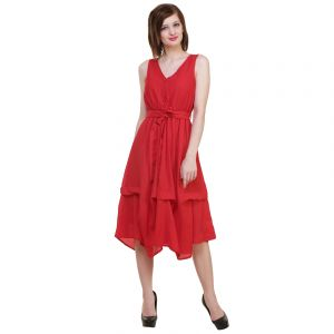 Hive91 Red Fit And Flare Maxi Length Dress Polyster Casual Dress For Women (code - Rh40drrd)