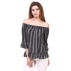 Hive91 Women Tops Off Shoulder (Design) Black Printed Rayon Fabric