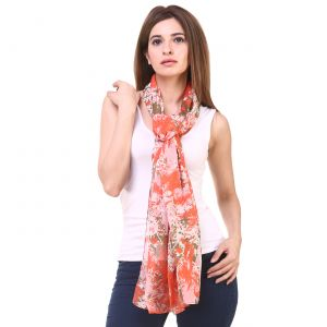 Hive91 Scarves For Women In Orange Color Poly Cotton Size (code - Rh06scor)